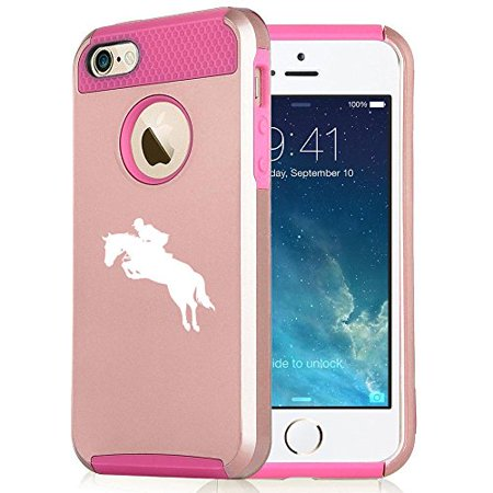Apple iPhone 6 6s Rose Gold Shockproof Impact Hard Case Cover Horse with Rider (Rose Gold / Hot Pink),MIP