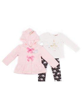 Little Lass Polar Fleece Unicorn Jacket, Long Sleeve Top & Knit Pants, 3pc Outfit Set (Toddler Girls)