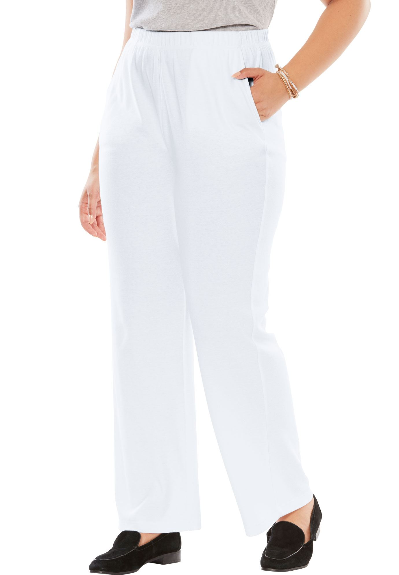 Woman Within Plus Size 7-day Knit Wide Leg Pant