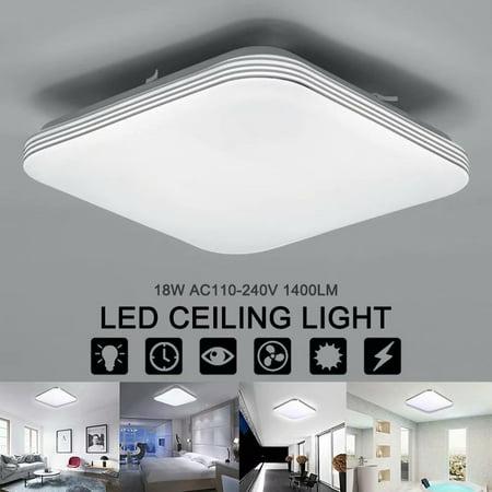 18w Flush Mount (Square 18W AC110-240V 1400LM Energy Efficient LED Ceiling Lights Modern Flush Mount Fixture Lamp Lighting for Kitchen Bathroom Dining)