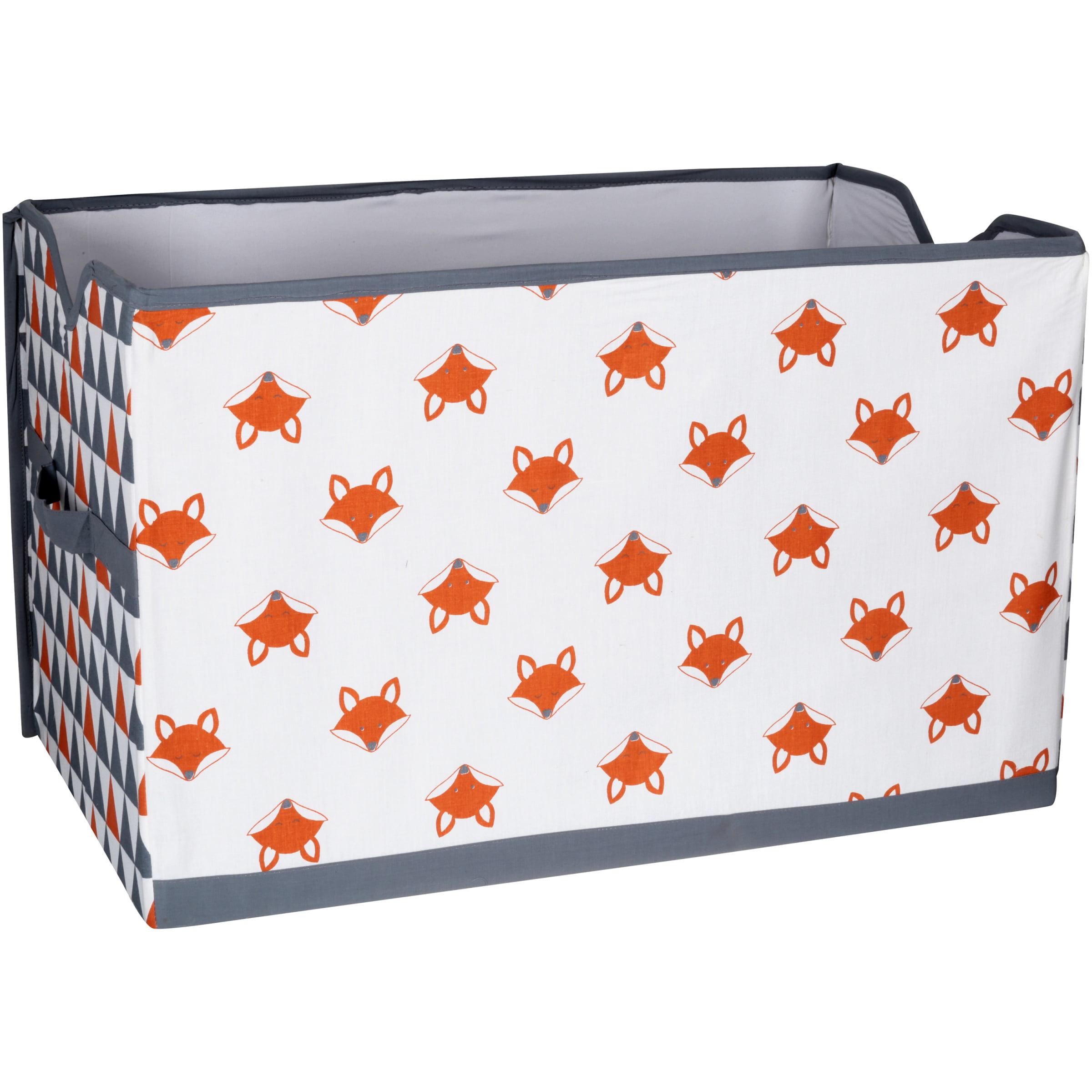 Bacati Playful Foxs Hamper Orange//Grey