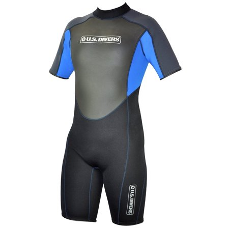 U.S. Divers Adult 2015 Shorty Wetsuit, Black/Blue, Medium -