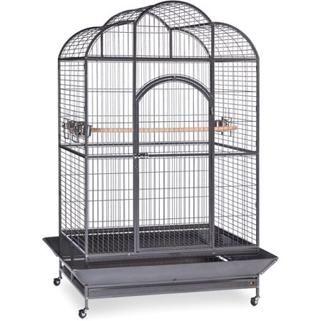 Iron Birdcage - Prevue Pet Products Wrought Iron Silverado Macaw Dometop Bird Cage, Silver