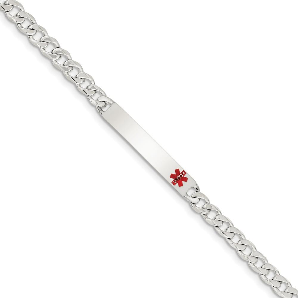 Sterling Silver Engravable 7.5in Polished Medical Curb Mens Link ID Bracelet