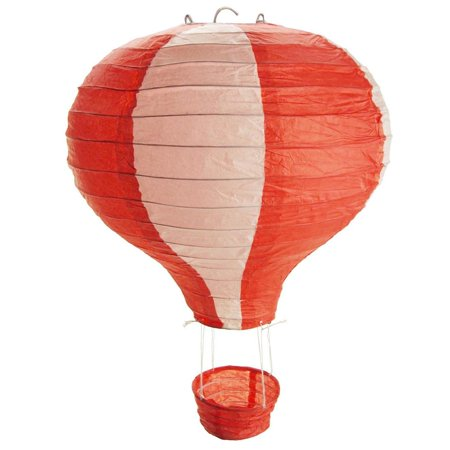 Striped Paper Hot Air Balloon Hanging Decor, 15-Inch, Red - Toy Hot Air Balloon