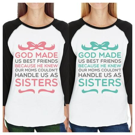 God Made Us Sister Matching Baseball Jerseys Funny Best Friend