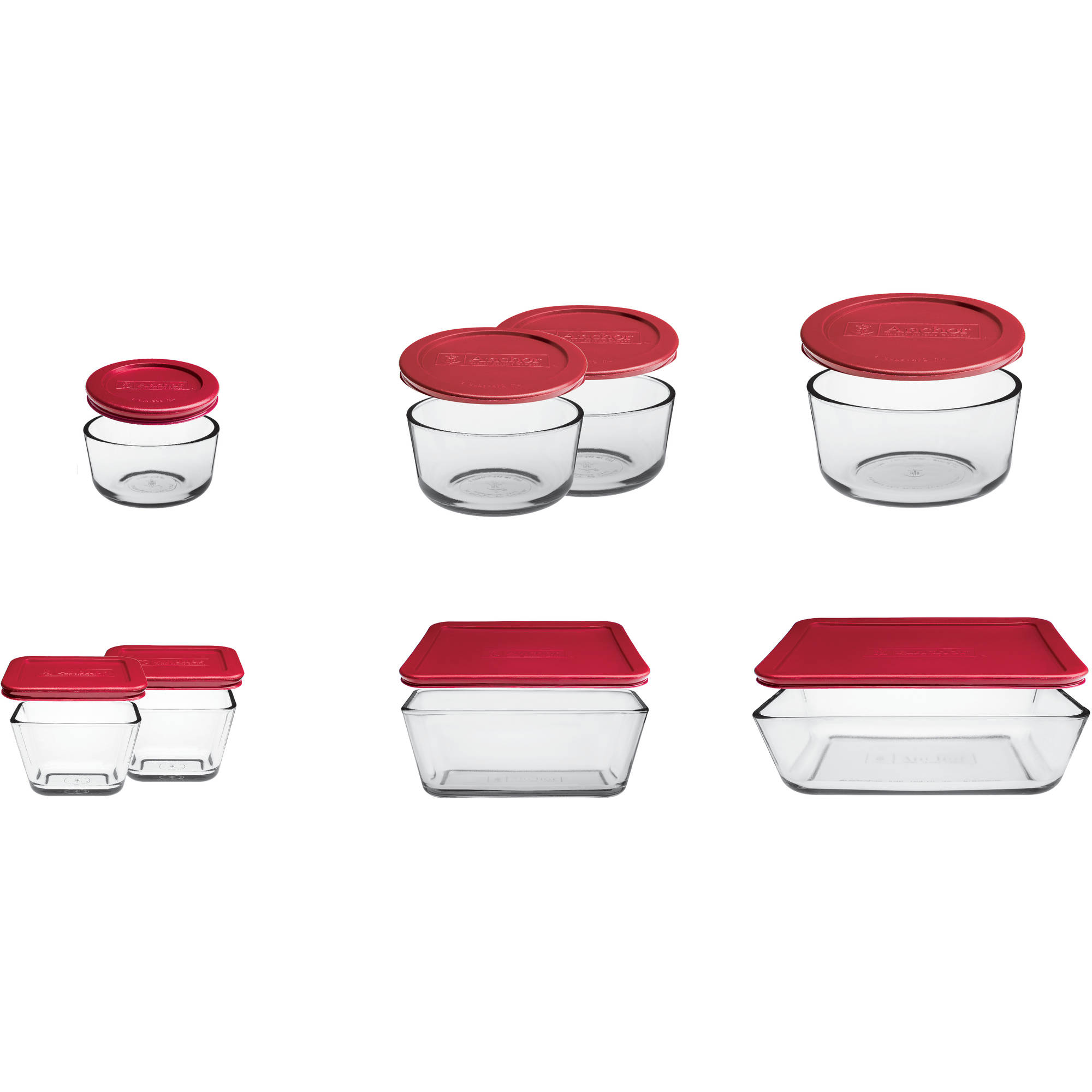 anchor hocking 16 piece kitchen food storage set with red lids anchor hocking 16 piece kitchen food storage set with red lids walmart com