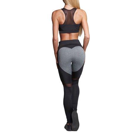 Workout Leggings for Women High Waist Yoga Pants Sports Heart Shape Fitness Stretch Jogging Running Gym