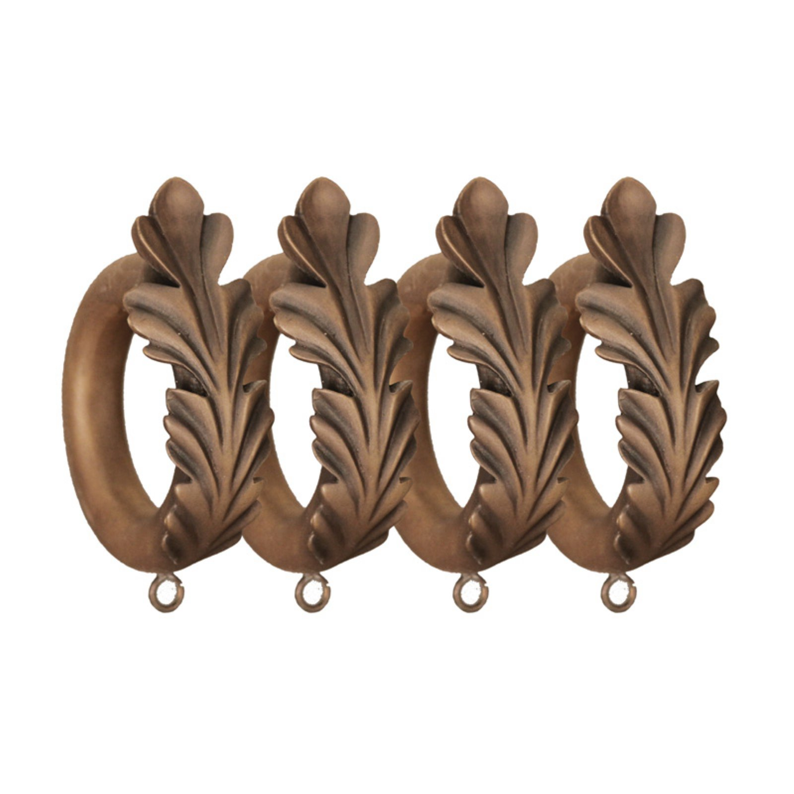 Menagerie 2 in. Faux Wood Scroll Drapery Rings - Set of 4