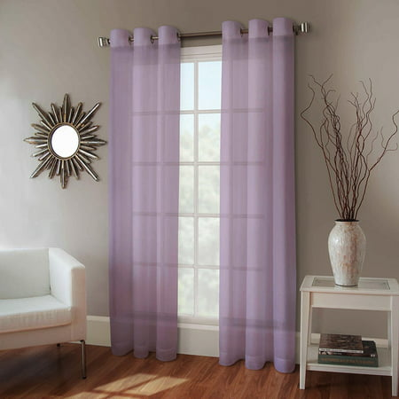 - 1 PANEL MIRA  SOLID LILAC LAVENDER  SEMI SHEER WINDOW FAUX SILK ANTIQUE BRONZE GROMMETS CURTAIN DRAPES 55 WIDE X 108