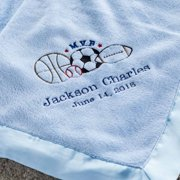 Personalized M.V.B Blue Baby Blanket