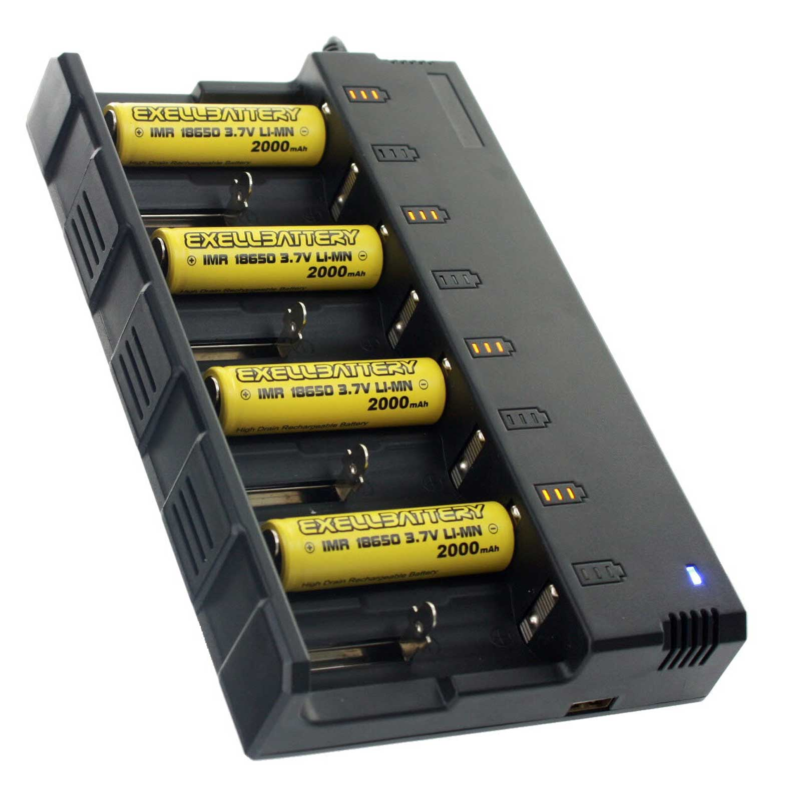 4 Pcs 3.7V 2000mAh Li-Ion 18650 IMR Rechargeable Battery and 8 Slot Charger