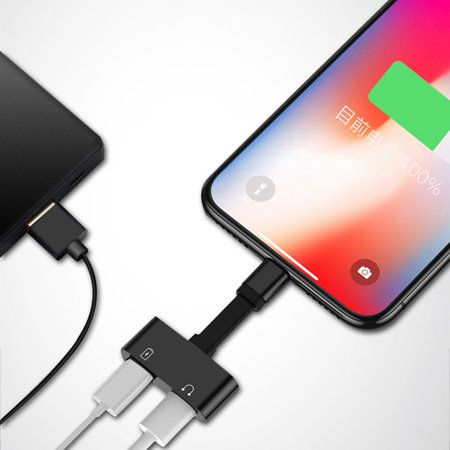 iphone xs max xr headphone aux adapter dual charger for. Black Bedroom Furniture Sets. Home Design Ideas