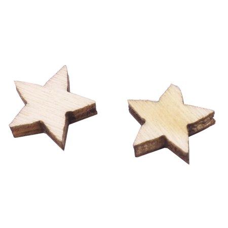 Wooden Star Shaped DIY Craft Christmas Tree Ornaments Beige 20 x 20mm 20pcs - image 2 de 5