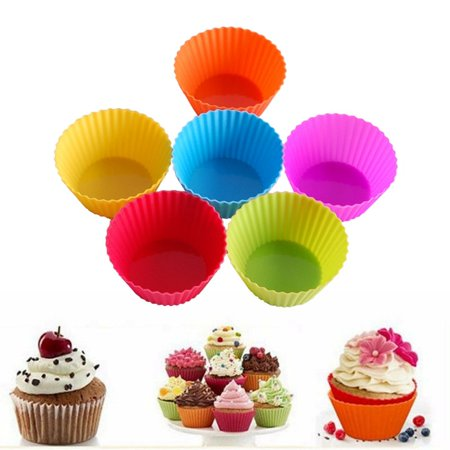 24-Pack Round Shape Silicone Muffin Cupcake Chocolate Mould Liner Reusable Baking Cup Mold - image 3 de 7