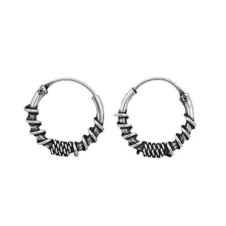 Tribal Artisan Jewelry 11x3 Bali Hoop Earrings Sterling Silver