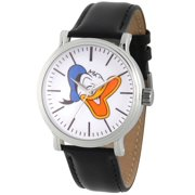 Donald Duck Men's Silver Vintage Alloy Watch, Black Leather Strap
