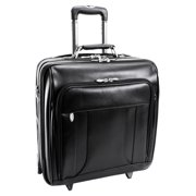 McKlein LASALLE, Wheeled Laptop Overnight w/ Removable Briefcase, Top Grain Cowhide Leather, Black (83405)