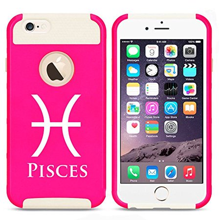 Apple Iphone 5 5S Shockproof Impact Hard Case Cover Horoscope Zodiac Birth Sign Pisces  Hot Pink White   Mip