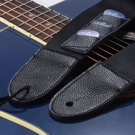 Adjustable Guitar Shoulder Strap Nylon Belt Synthetic Leather Ends with 3 Small Pockets and 3pcs Guitar Picks for Acoustic Folk Classic Electric Guitars Bass - image 2 of 6