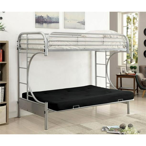 Furniture Of America Hayley Metal Twin Over Futon Bunk Bed In Silver Walmart Com