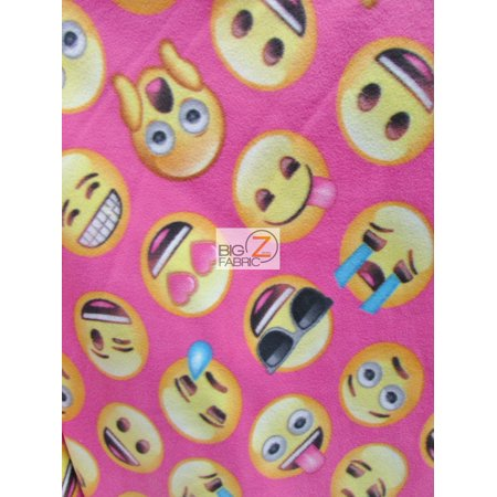 David textiles fleece printed fabric my emoji friends pink sold by the yard for Emoji material by the yard