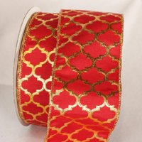 "Moroccan Princess Red and Gold Wired Craft Ribbon 3"" x 20 Yards"