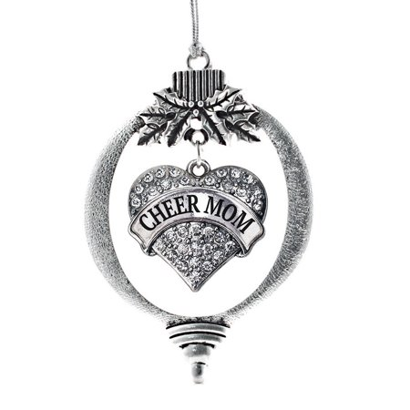 Cheer Mom Pave Heart Holiday Ornament