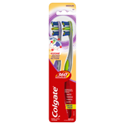 Colgate 360 Advanced 4 Zone Manual Toothbrush with Tongue and Cheek Cleaner, Medium, 2 Ct