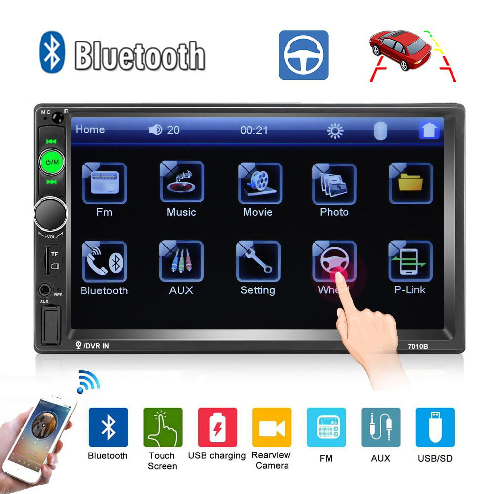 Double Din Car Stereo 7 Inches Touch Screen Car Radio MP5 MP3 Player,Supports Bluetooth//AM//FM//Rear Camera//USB//TF with Remote Control by Ironpeas