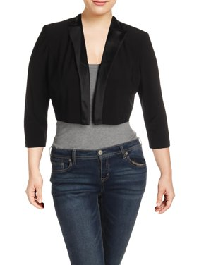 Alex Evenings Womens Satin Trim Open Front Crop Blazer