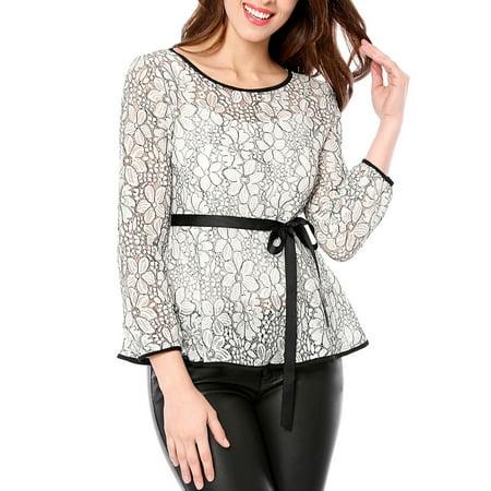Women's Self-Tie Waist Long Sleeve Semi Sheer Peplum Top M White Elastic Waist Long Sleeve Skirt