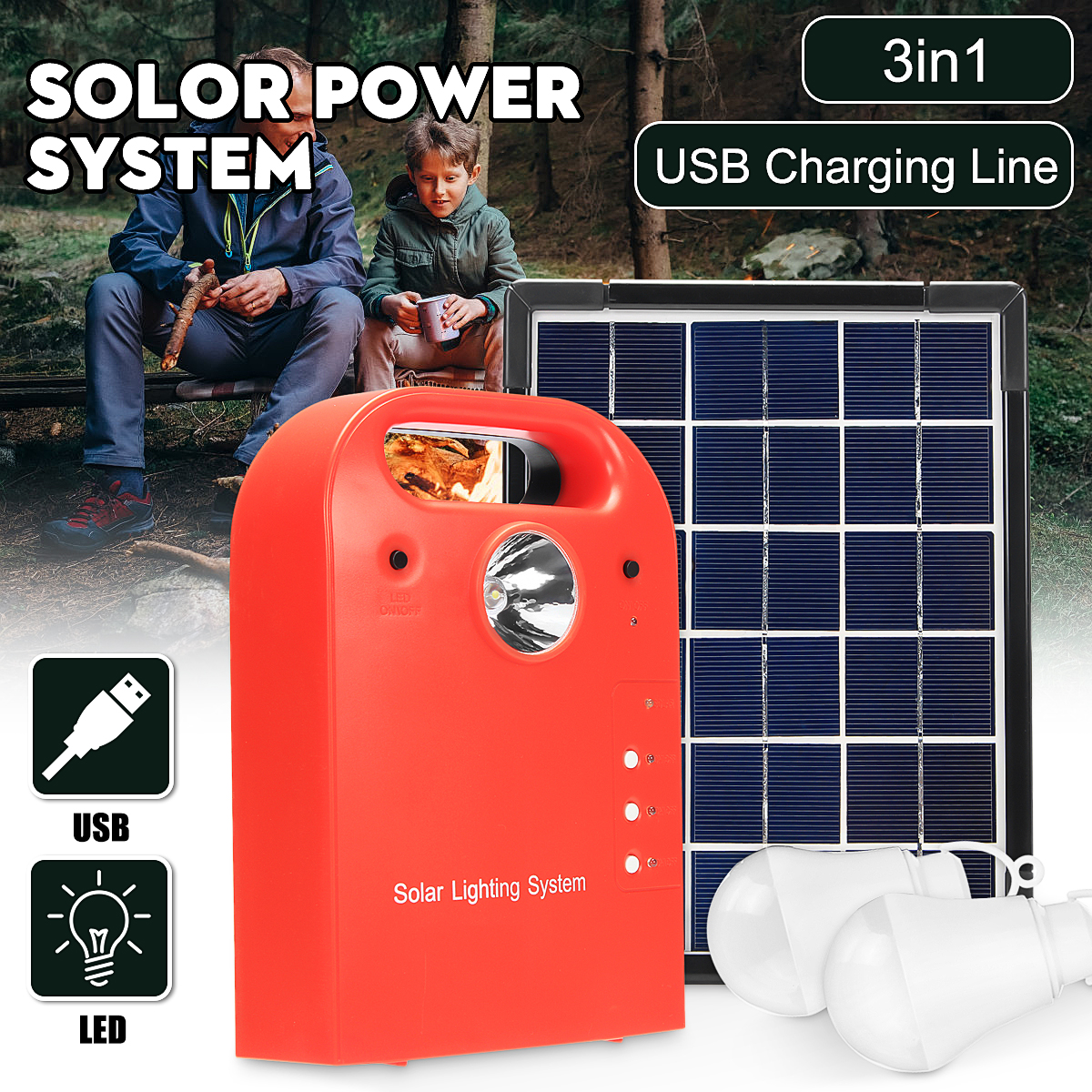Portable Solar Panel Powered System Generator with 2 LED Light Bulbs Multi-functional Emergency Light Source for Home Camping Travel Outdoor