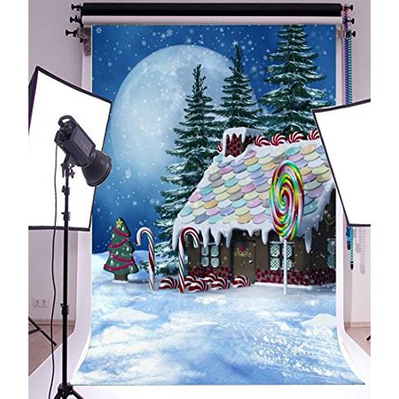 Green Candy Buffet (GreenDecor Polyster 5x7ft Colorful Village winter scenery candy buffet house backdrop Christmas baby shower party)