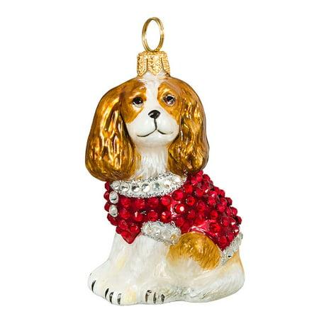 Tri Cavalier King Charles Spaniel - Blenheim Cavalier King Charles Spaniel in Crystal Coat Polish Christmas Ornament