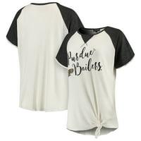 Purdue Boilermakers Women's Believe It Or Not Raglan Waffle T-Shirt - Cream/Black