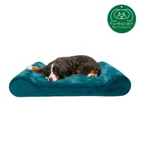FurHaven Pet Dog Bed | Cooling Gel Memory Foam Orthopedic Minky Plush & Velvet Luxe Lounger Pet Bed for Dogs & Cats, Spruce Blue, Giant