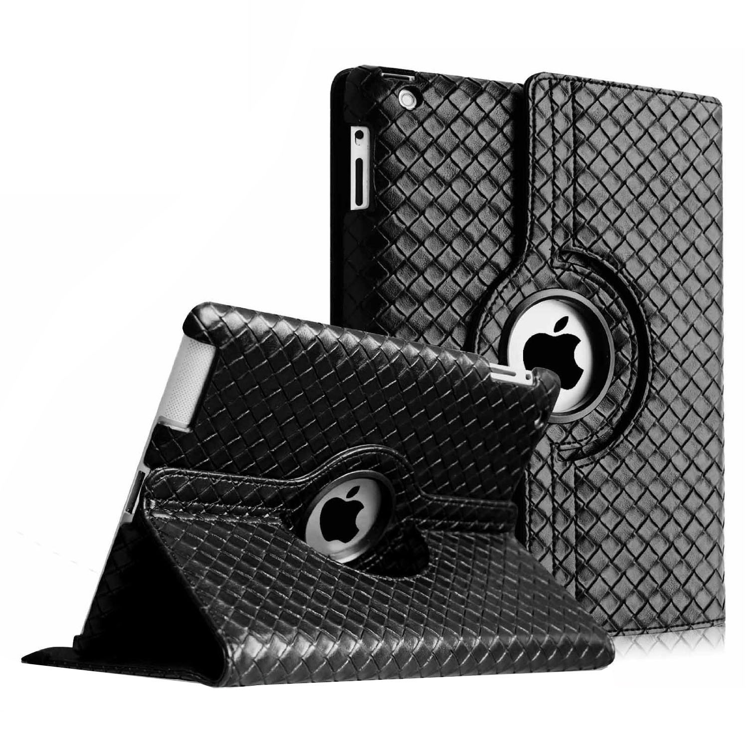 Apple iPad 2 , iPad 3 & iPad 4 with Retina Display Case - Fintie Knot Series 360 Degree Rotating Stand Smart Cover,Black