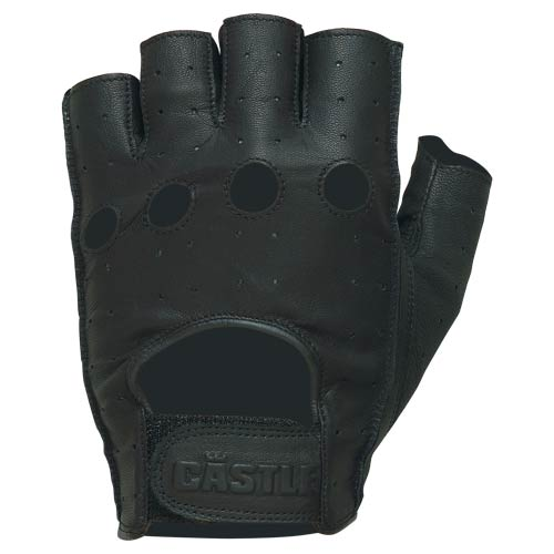 Castle Streetwear Fingerless Leather Gloves Black
