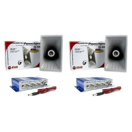 PA Power Horn Speaker 100 Watt Indoor Outdoor 100W with Hifi Amplifier Qty