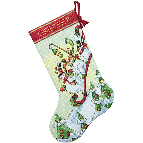 "Dimensions ""Sledding Snowmen"" Stocking Counted Cross Stitch Kit, 16""L"