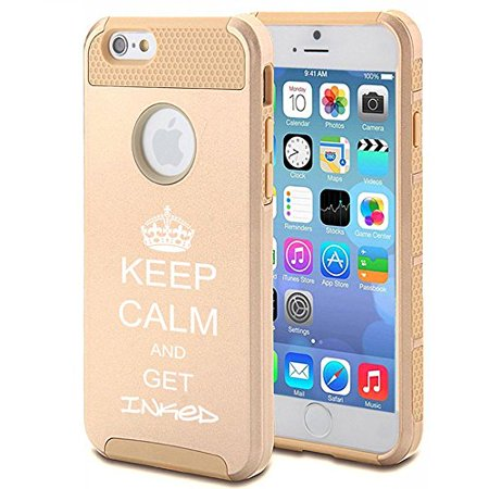 Apple iPhone 6 6s Shockproof Impact Hard Case Cover Keep Calm and Get Inked Tattoo (Gold),MIP ()
