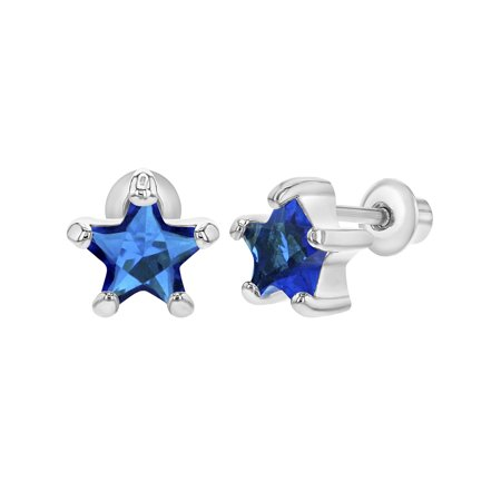 Rhodium Plated September Blue Crystal Star Screw Back Earrings