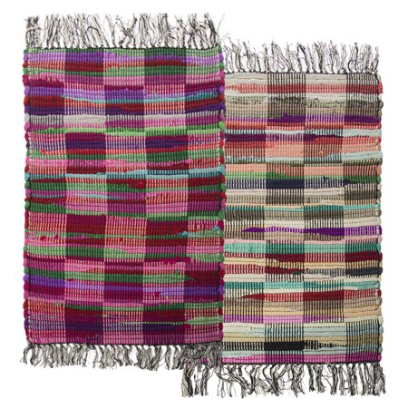 "Recycled Rag Rugs - Simply Genius (2 Pack) Checkered 20""x32"" Chindi Rag Rugs – Colorful Recycled Fabric Durable Decor"