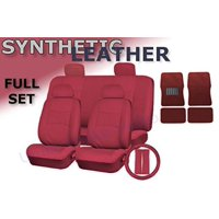 17 Piece Classic Premium Synthetic PU Faux Leather Seat Cover Set with 4pc Carpet Floor Mats - Steering Wheel Set Bonus (Red Leatherette)