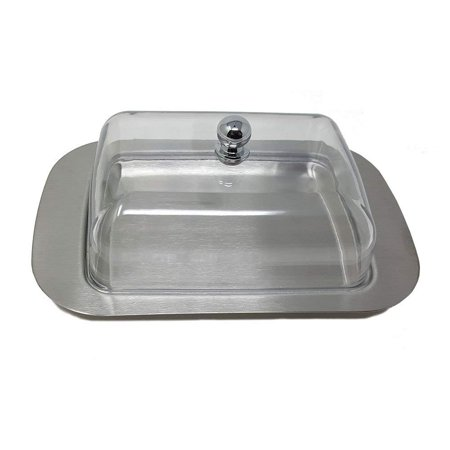 Modern Danish Butter Dish With Clear Acrylic Cover & Stainless Steel Tray