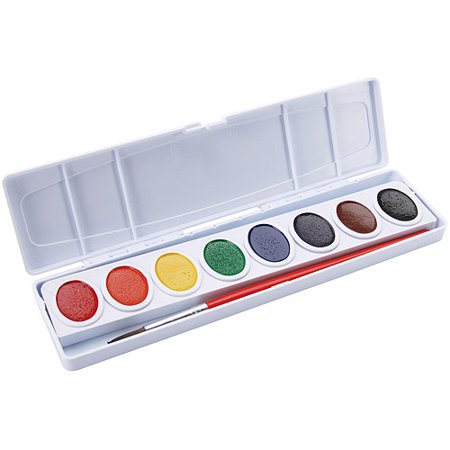 Prang Watercolor Paint Cakes, Assorted Colors, 8/pkg