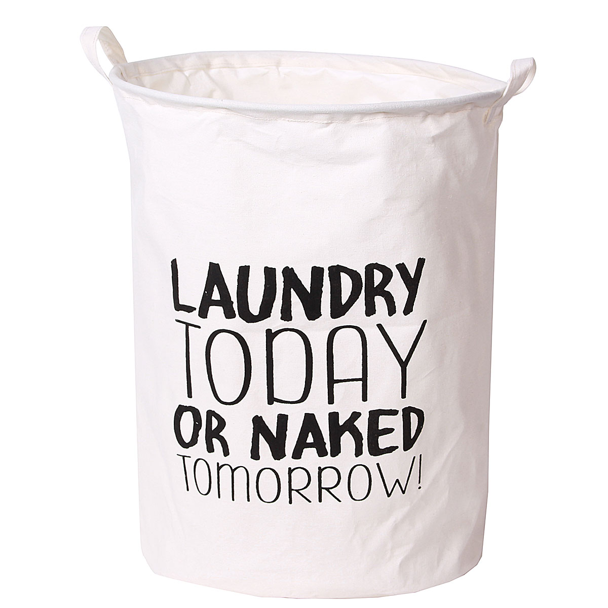 Grtsunsea Foldable Laundry Bag Basket Cotton Linen Hamper Dirty Washing Clothes & Toy Storage Organizer, LAUNDRY TODAY