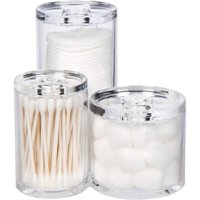 "GROOVI BEAUTY Acrylic Triple Round Make up Container (3 Connected Towers) - Compact Size, Great Storage Container for Cosmetics, Bathroom and Vanity Supplies - 5.5"" x 5.9"" x 5.25"