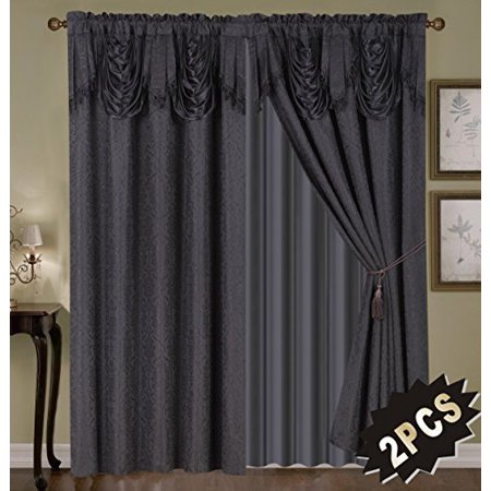 Luxury Embroidered Curtain Set. 4 Piece Black Drapes with Backing & Valance & Tie (Embroidered Blank)